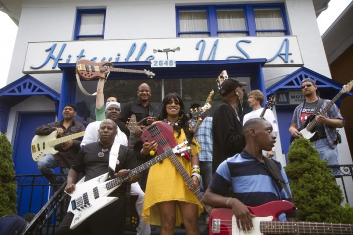 Photo gallery: More than 100 bassists gather in front of Motown Historical Museum