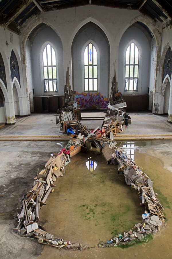 Mysterious installation found inside abandoned church in Detroit