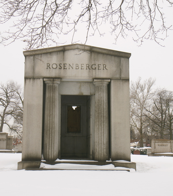 The copper doors and stained glass window were stolen from the mausoleum of Oscar Rosenberger, the owner of the San Telmo Cigar Company.
