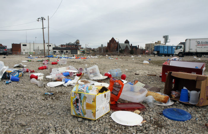 Aftermath of Tigers Opening Day: Red cups, blood, rotting food, vomit, broken windows & beer bottles
