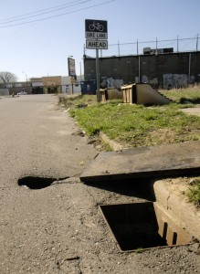 A Detroiter fell into this open sewer hole on April 21.