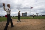 """Fans played a game of """"1860s baseball"""" at Navin Field, the site of former Tiger Stadium. Photo by Steve Neavling."""
