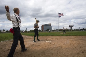 "Fans played a game of ""1860s baseball"" at Navin Field, the site of former Tiger Stadium. Photo by Steve Neavling."