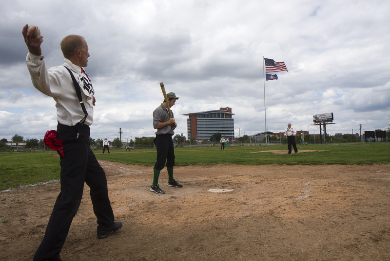 "Fans played a game of ""1860s baseball"" at Navin Field, the former site of Tiger Stadium. Photo by Steve Neavling/MCM"