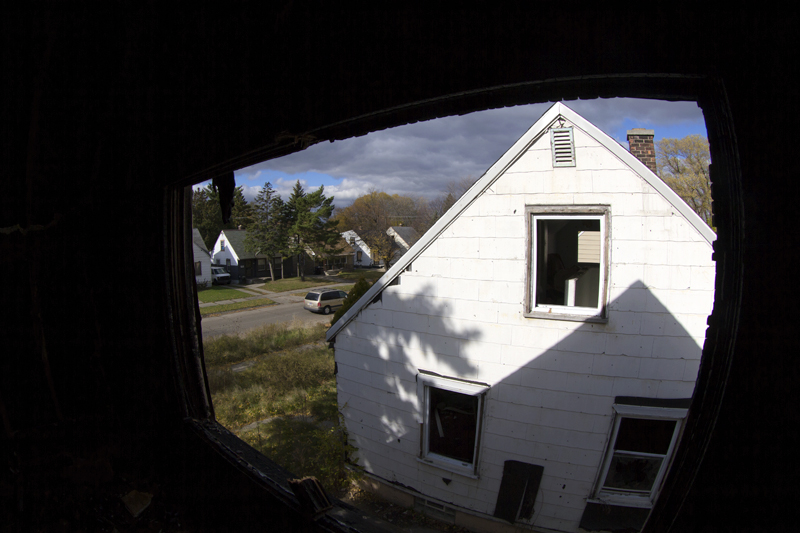 The view from Eminem's childhood bedroom after the house was gutted by fire in 2013.