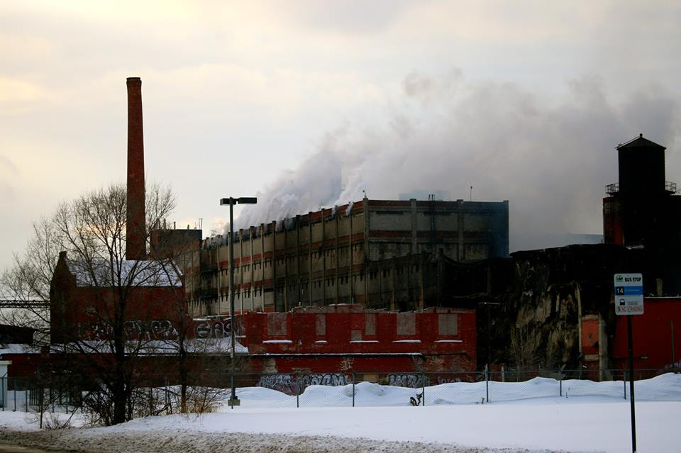 The plant continued to burn Saturday.