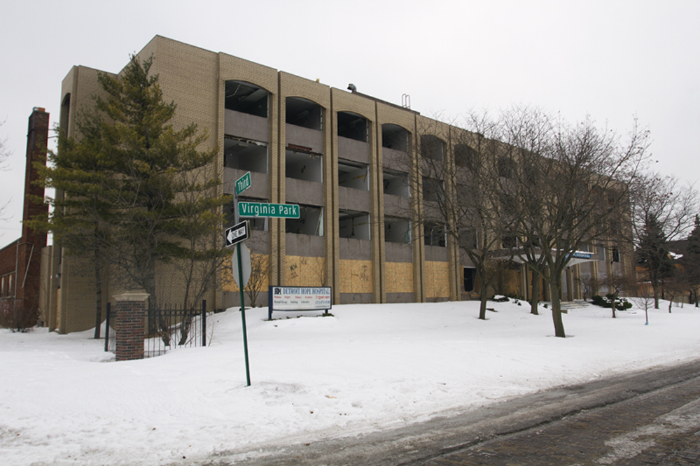 Hope Hospital has been gutted by scrappers at 801 Virginia Park. Taxes owed: $94,496.