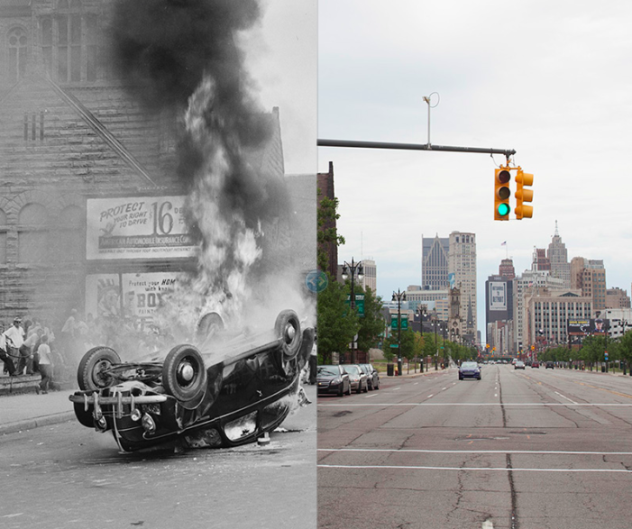 Interactive before-and-after photos of Detroit offer unrivaled look at city's decline