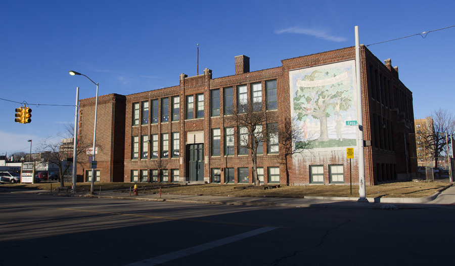 "The Burton School was informally known as ""the Chinese School"" at the corner of Cass and Petersboro."