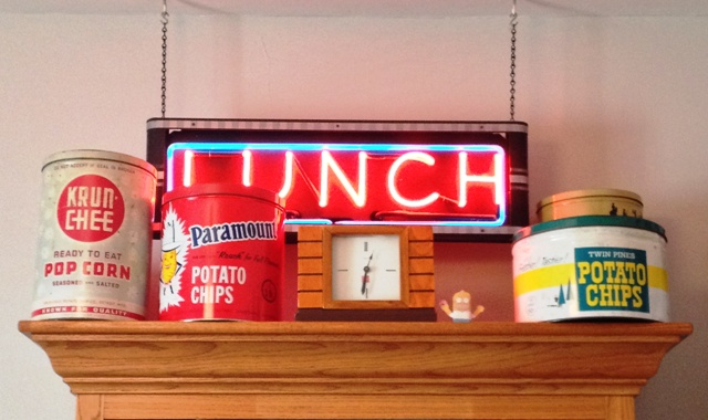 "Mr. Golick always wanted a neon sign. He found this one, a subtle tribute to ""Lunch with Soupy,"" at a garage sale and refurbished it."