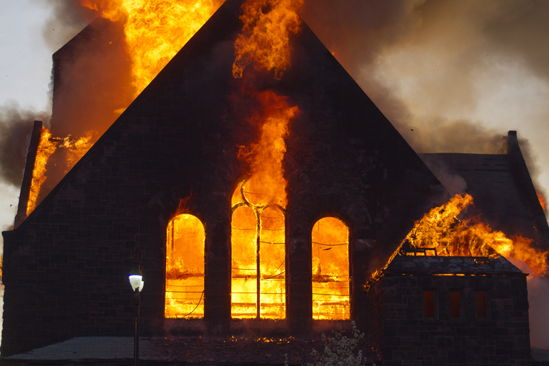 The historic First Unitarian on Woodward burned to the ground.