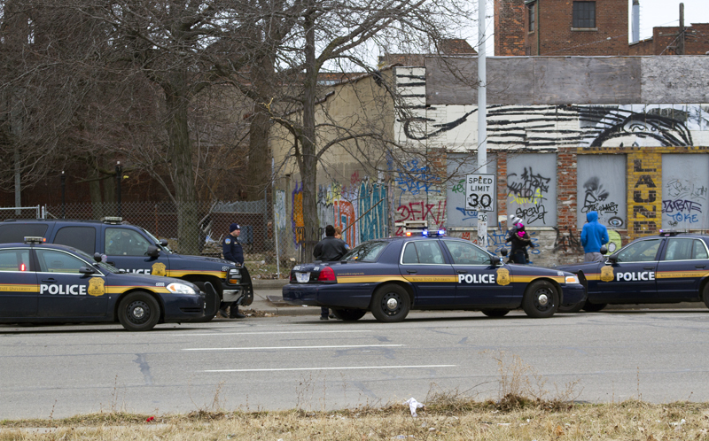 Wayne State University Police covers the entire Second Ave. that is being converted into a two-way.