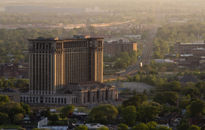 Fires break out inside iconic ruins of Michigan Central Station in Detroit