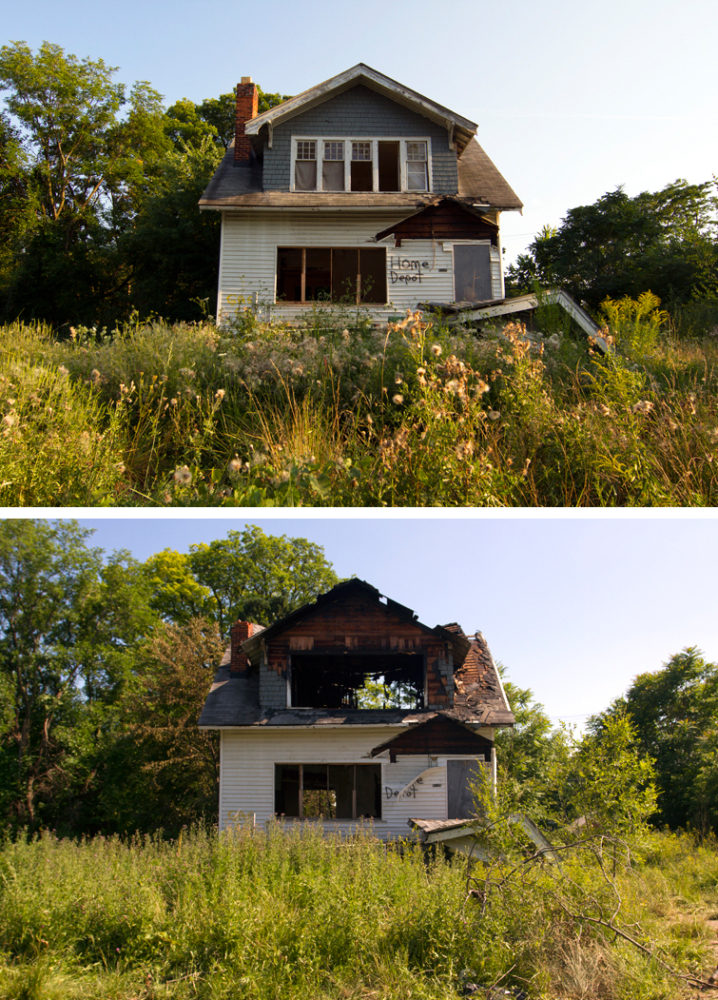 """Marked """"Home Depot,"""" this house at 167 W. Robinwood was destroyed by fire on June 22."""