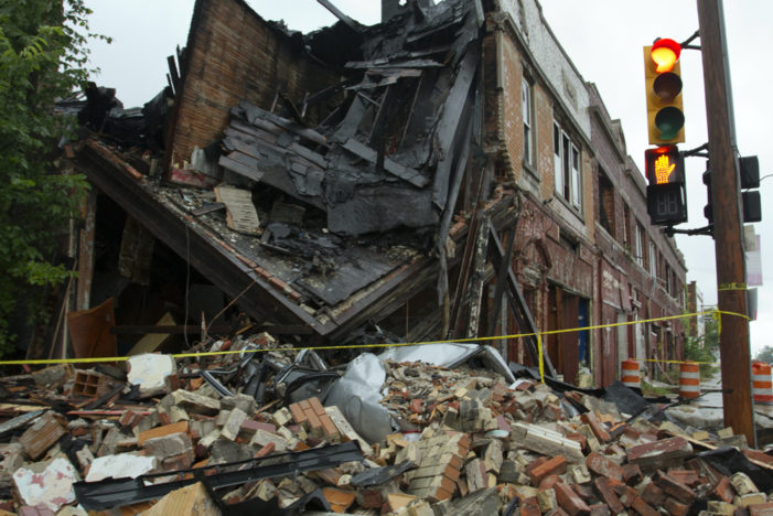 Car accident, collapsed building left untouched by city of Detroit for days