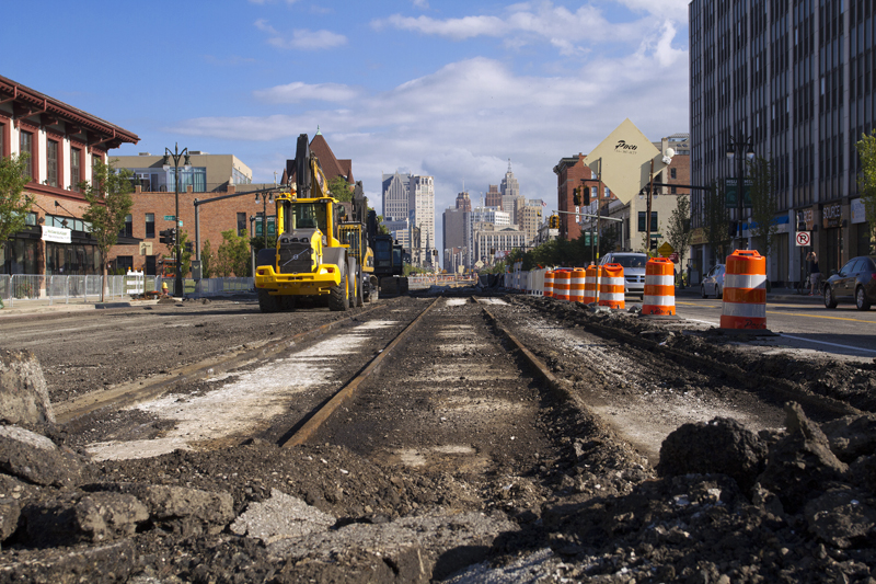 Unearthed streetcar rails on Woodward near downtown Detroit. All photos by Steve Neavling
