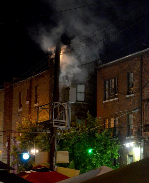 A transformer burns at Dally in the Alley. Photo courtesy of Dustin Blitchok.