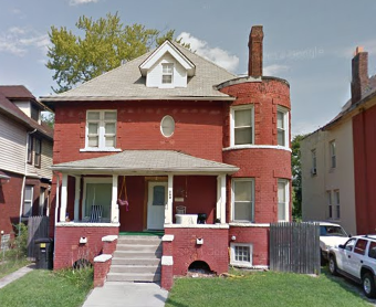 Two-story brick house at 700 W. Euclid. Taxes owed: $20,900.