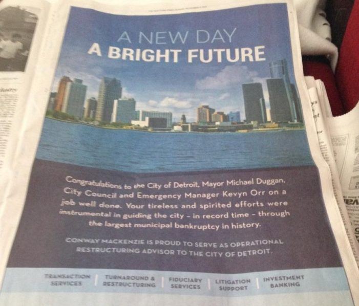 Consultant that raked in $17.2M in bankruptcy congratulates Detroit in NYT ad