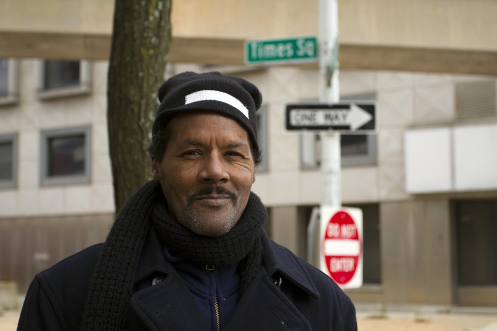 Barney Johnson, 60, in downtown Detroit on Thanksgiving Day.