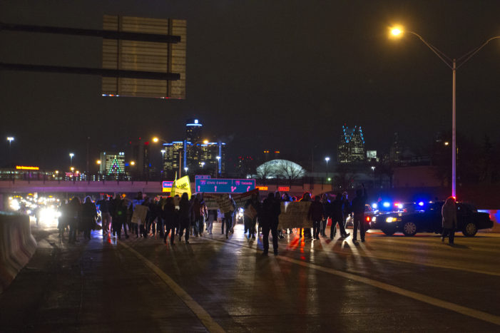 Photos: Protesters block freeways, roads, barge into WSU buildings in Detroit