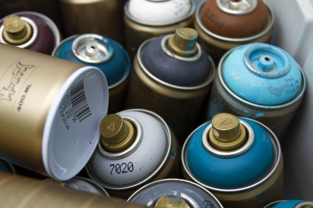 Hundreds of spray paint cans will be used during the project.