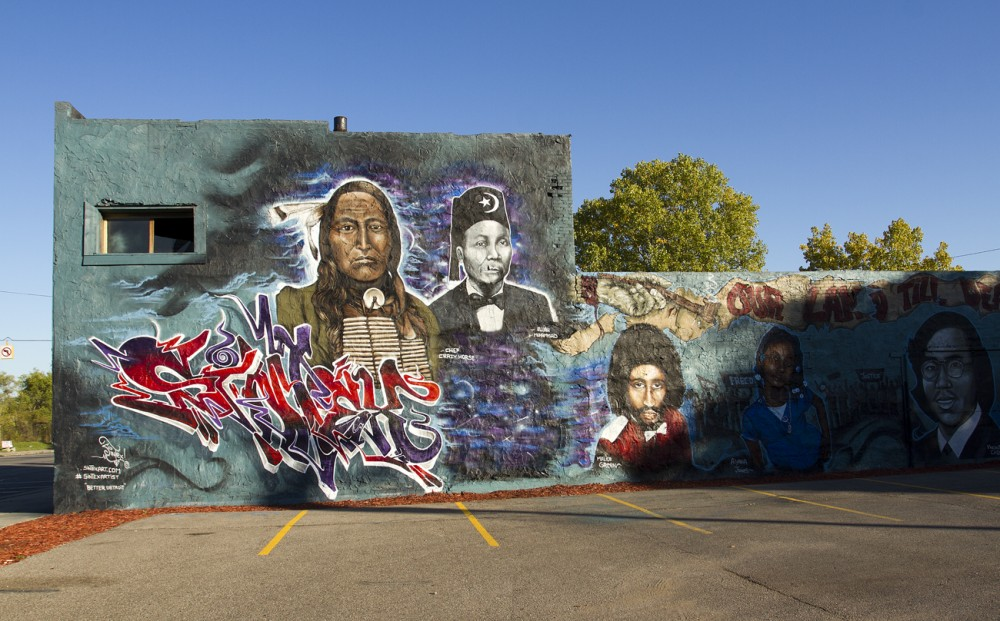 Detroit-based artist Sintex painted this mural over another one by a Baltimore artist in August.