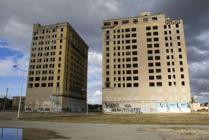Graffiti removed from historic Detroit hotels but fate of buildings uncertain