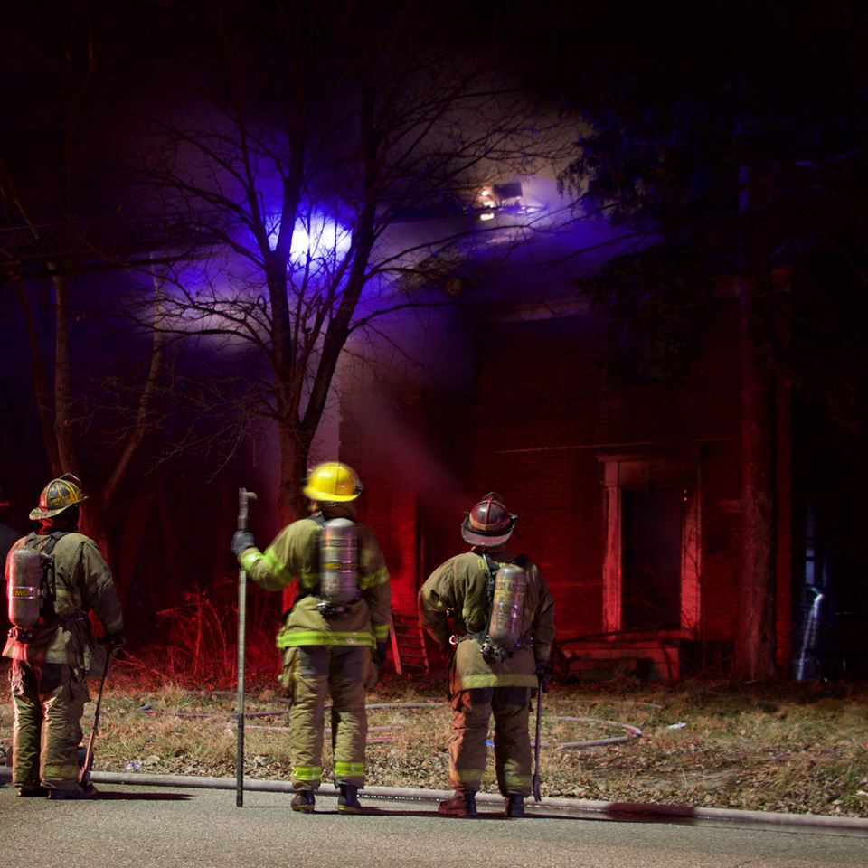 A suspicious fire guts this house at 12089 Stout on Jan. 1. Photo by Michael Brouwer.