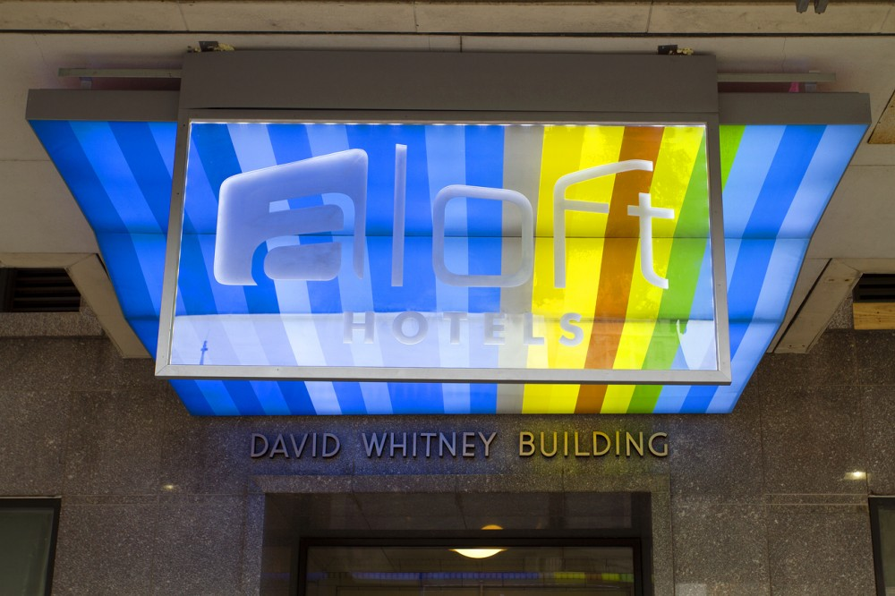 Entrance to the David Whitney Building at Witherell and Woodward.