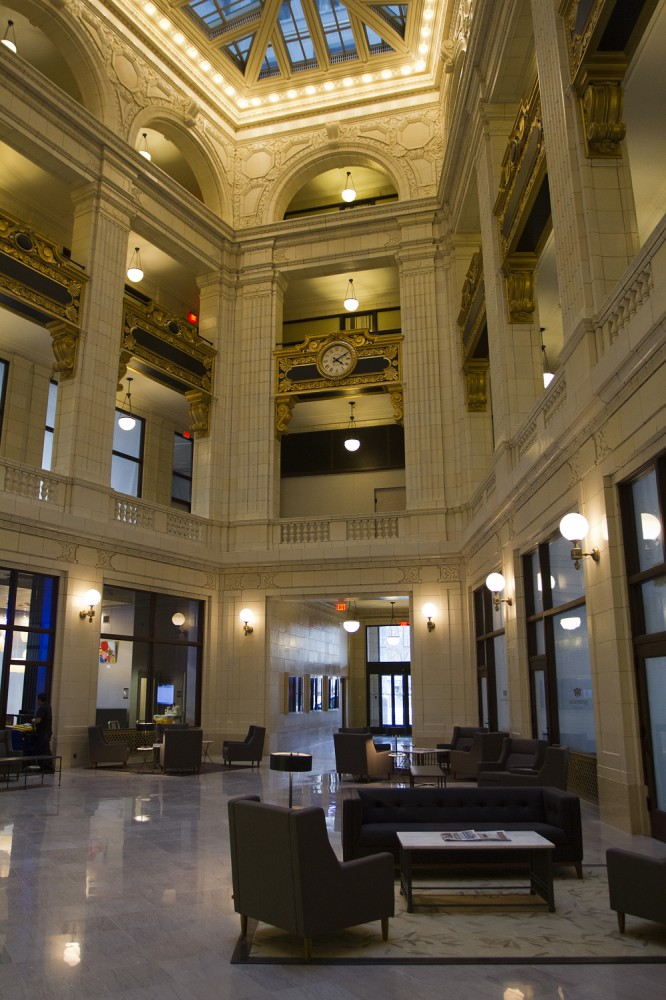 The 100-year-old lobby used to be ringed with storefronts.
