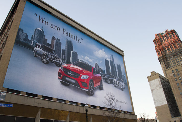 'We are Family?' So proclaims Mercedes on 5-story-tall ad in downtown Detroit