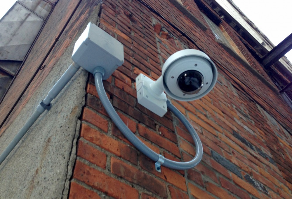 Bedrock installed this camera without permission from the building's owner, Chris . Photos by Steve Neavling.