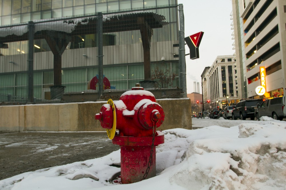 Broken hydrant outside of the downtown YMCA. By Steve Neavling/MCM