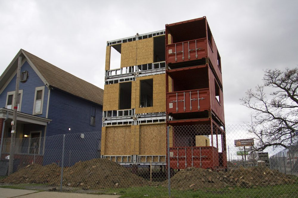 A 3-story shipping container model is under construction at Trumbull and Pine in Corktown.