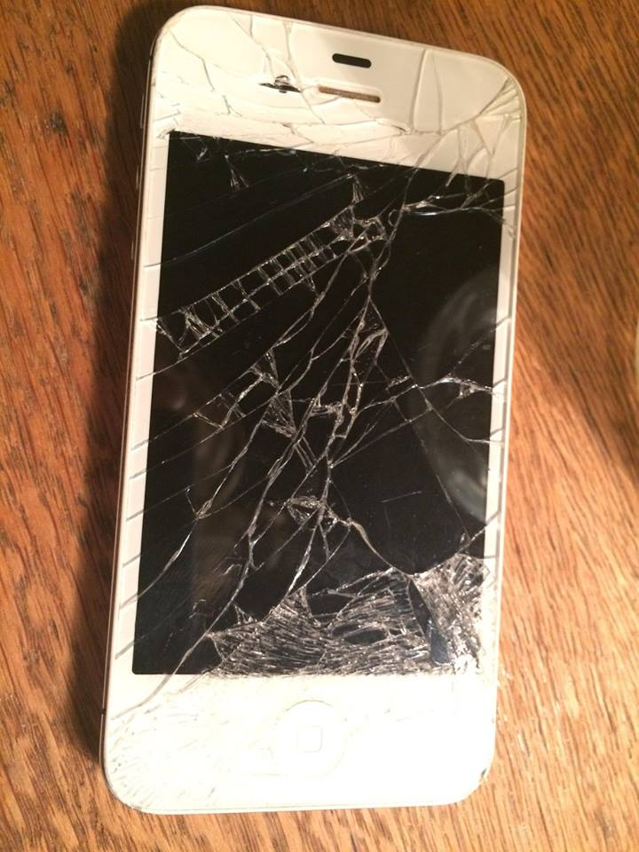 A phone allegedly destroyed by cops.