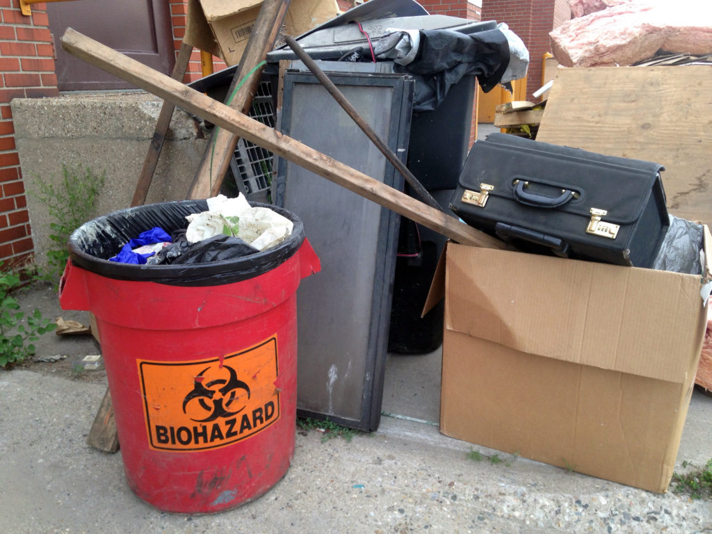 Medical waste was left outside of a city building in Eastern Market this weekend. All photos by Steve Neavling