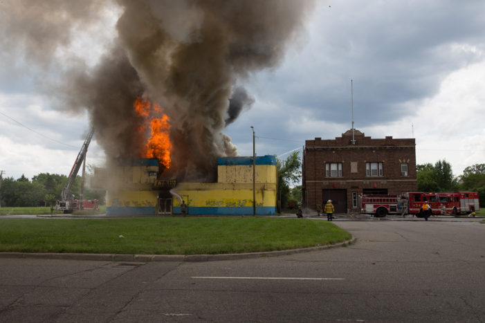 Firefighters battled to save fire station from party store blaze