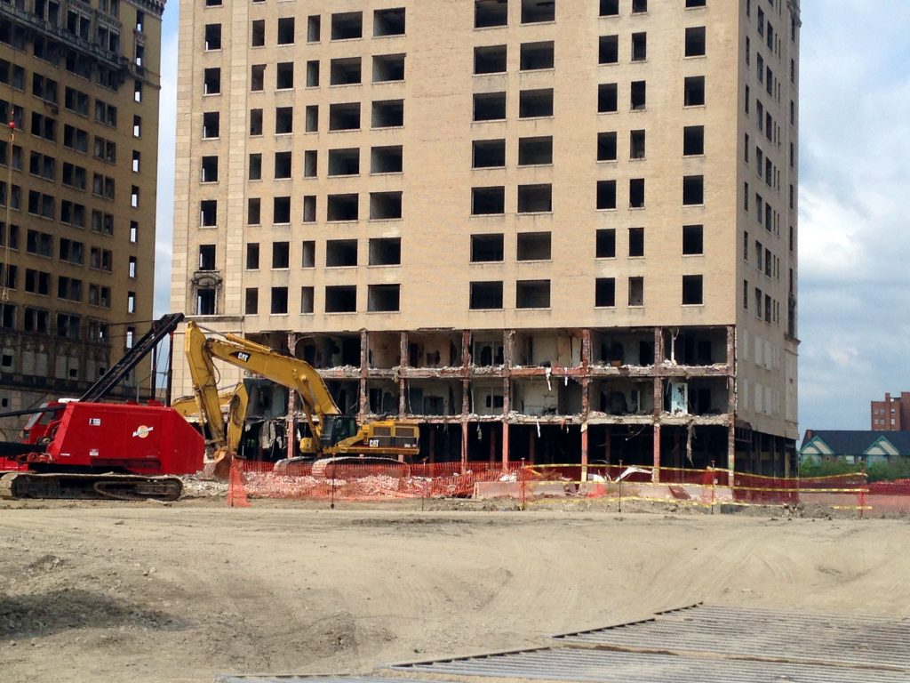Pecking away at the Hotel Park Avenue to accommodate a new Red Wings arena.