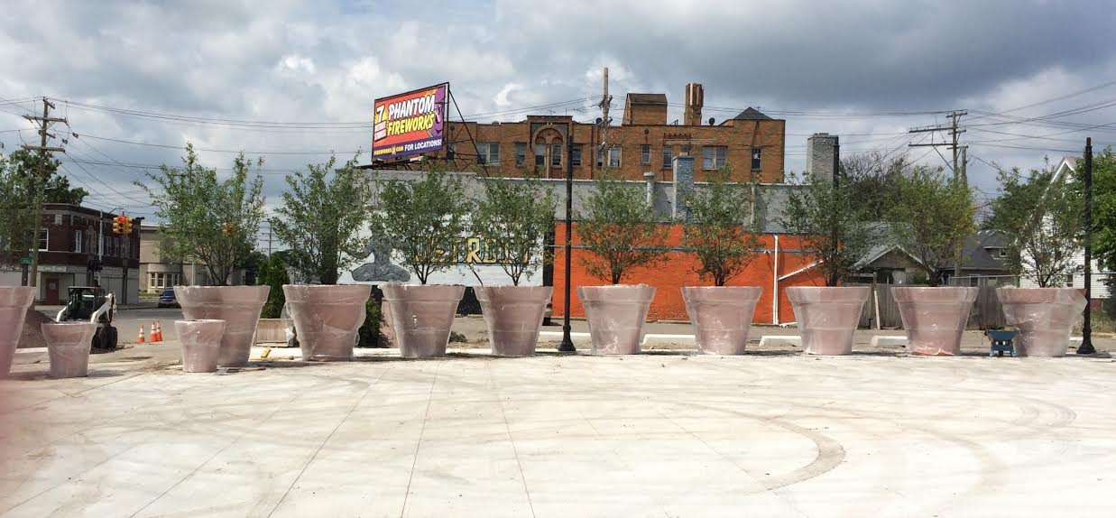 Large potted plants were placed at the border of Detroit. Photo submitted anonymously.