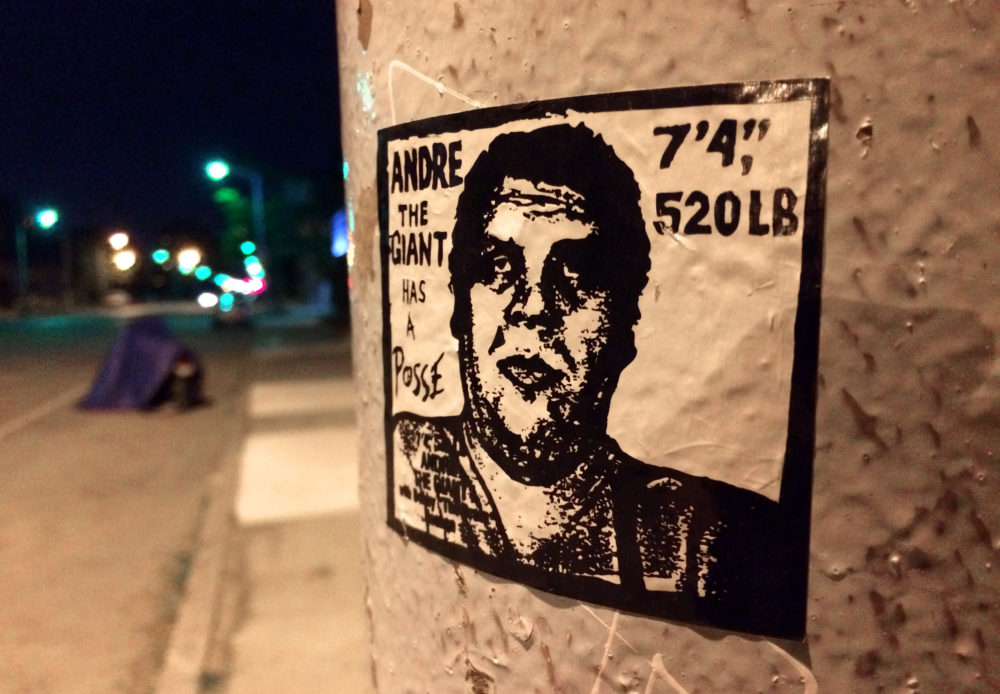 An iconic Shepard Fairey image of Andre the Giant in the Cass Corridor. Photo by Steve Neavling.