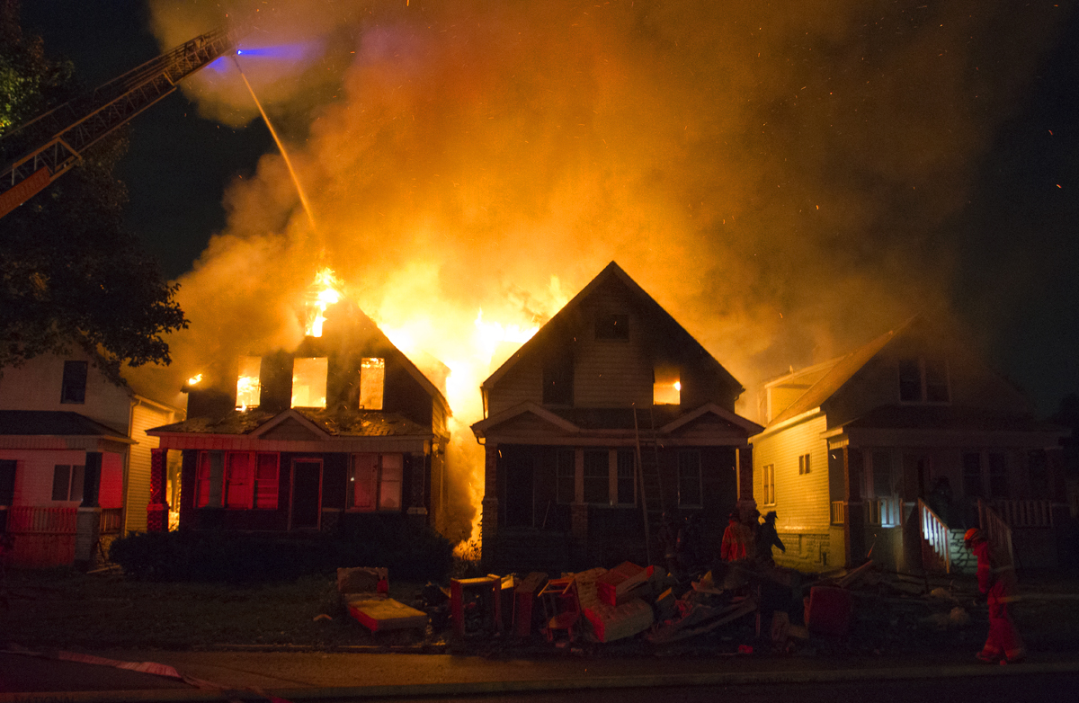 Several houses were destroyed by a fire on Otis Street.