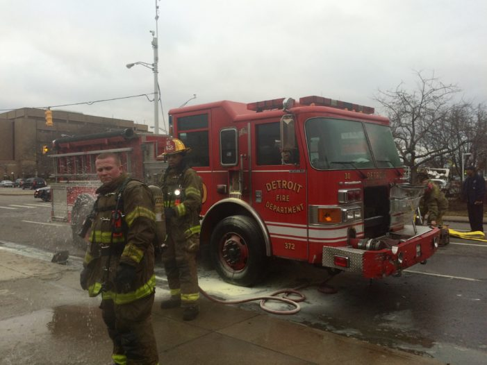 Video: Detroit fire engine catches fire, ladder truck breaks down