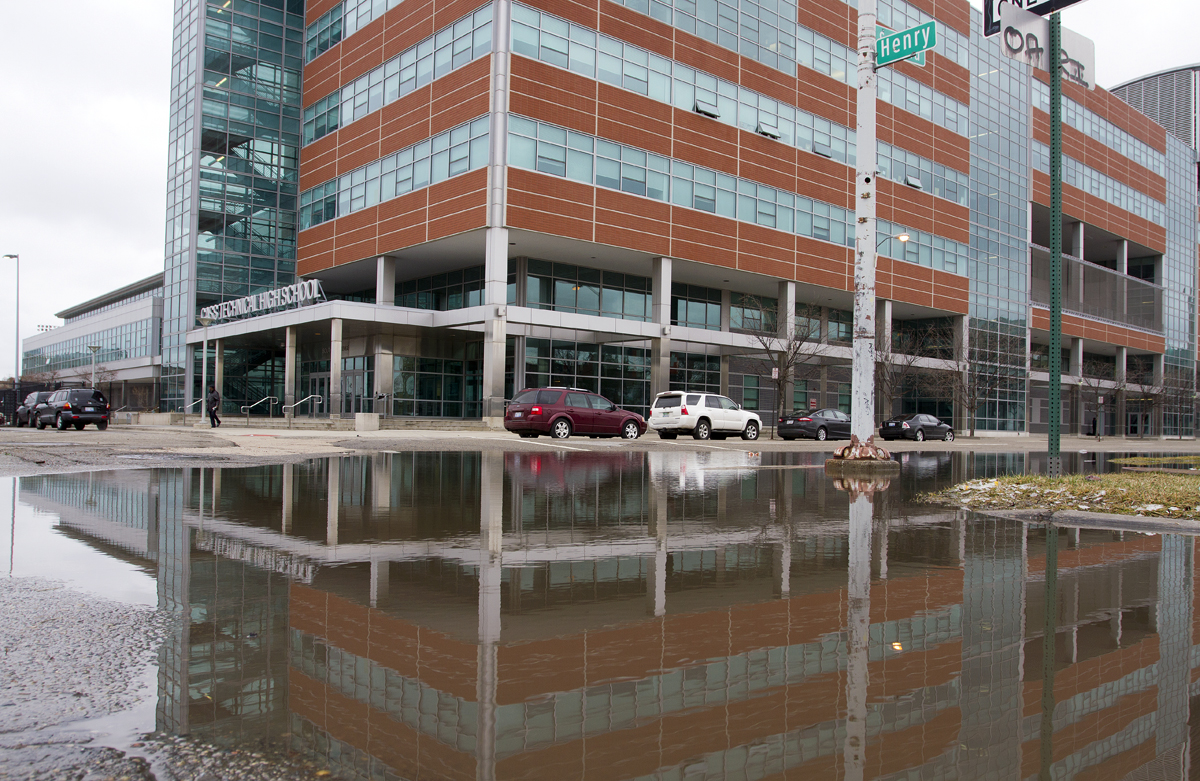 Flooding from a broken main outside of Cass Tech High School. Photo by Steve Neavling.