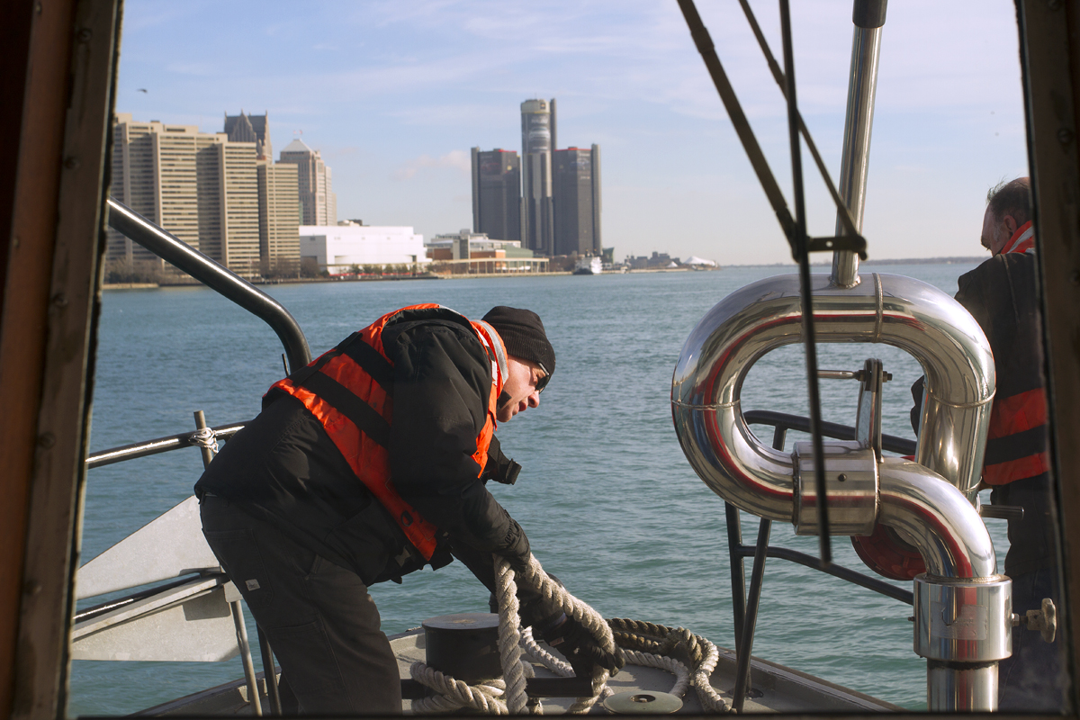 Carl Lundell, a recently retired EMS supervisor, at the front of the vessel.