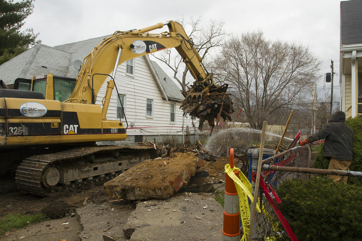 "An emergency crew demolished the remains of the ""art"" house at 20195 Stoepel."