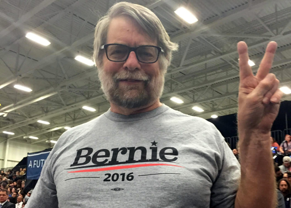 Michael Betzold at a Bernie Sanders rally.