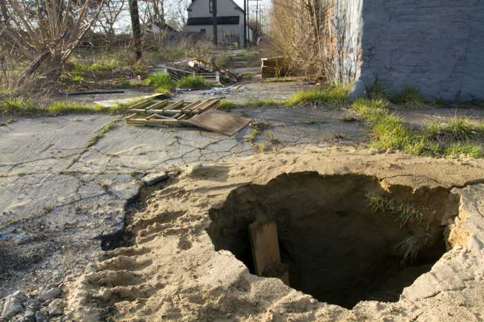 Massive sinkhole poses serious dangers on Detroit's east side