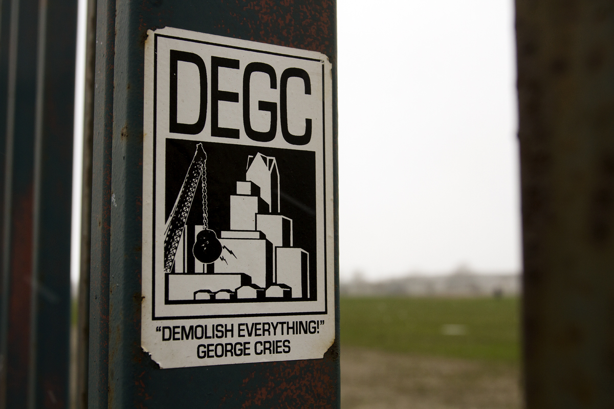 A sticker at the site of the former Tiger Stadium. Photo by Steve Neavling.