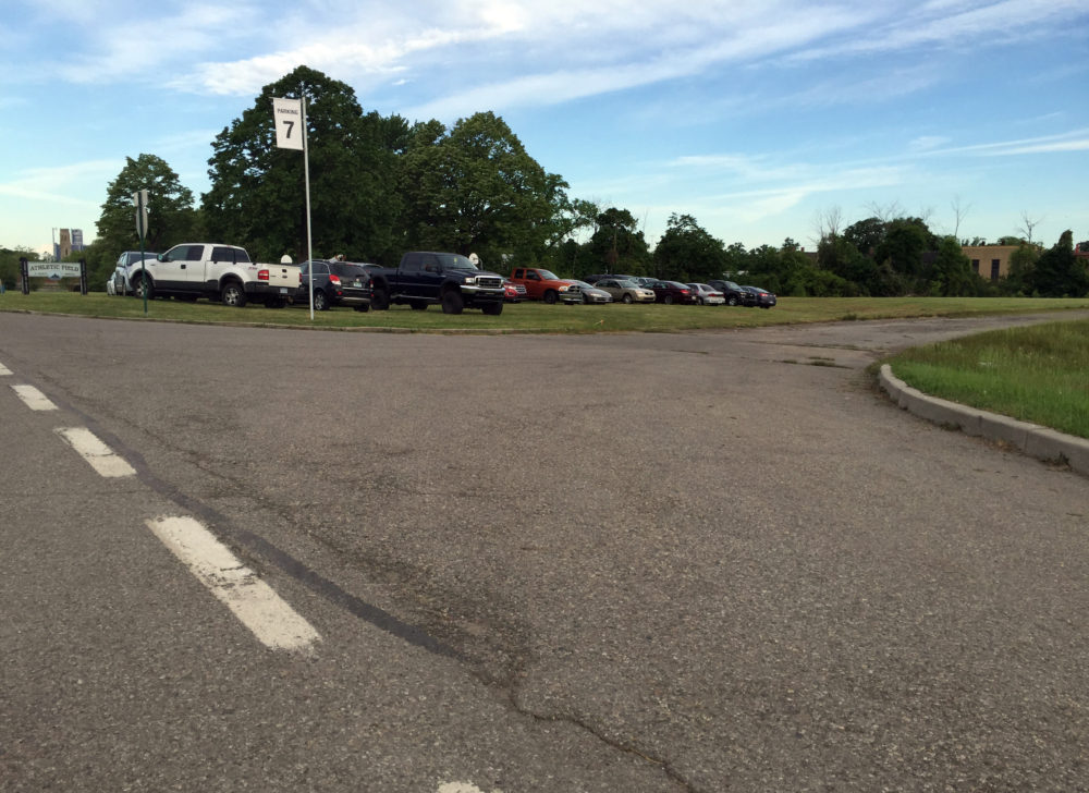 Parking at the Grand Prix near the park's ball fields. Photo by Michael Betzold.